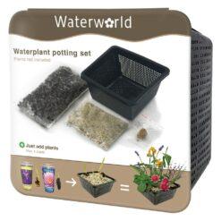 Met de Aqua Set kunt u iedere soort waterplant eenvoudig en snel oppotten. Het professionele vijvermandje wordt geleverd met speciale waterplanten klei